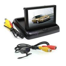 "New 4.3"" Foldable TFT Color LCD Car quality Rearview 16:9 4.3 inch car Security Monitor and small Camera CMOS Camera 170 degree"