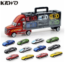 KAWO Transport Car Carrier Truck Toy for Boys Includes 12 Metal Cars Handheld Gift Package(China)