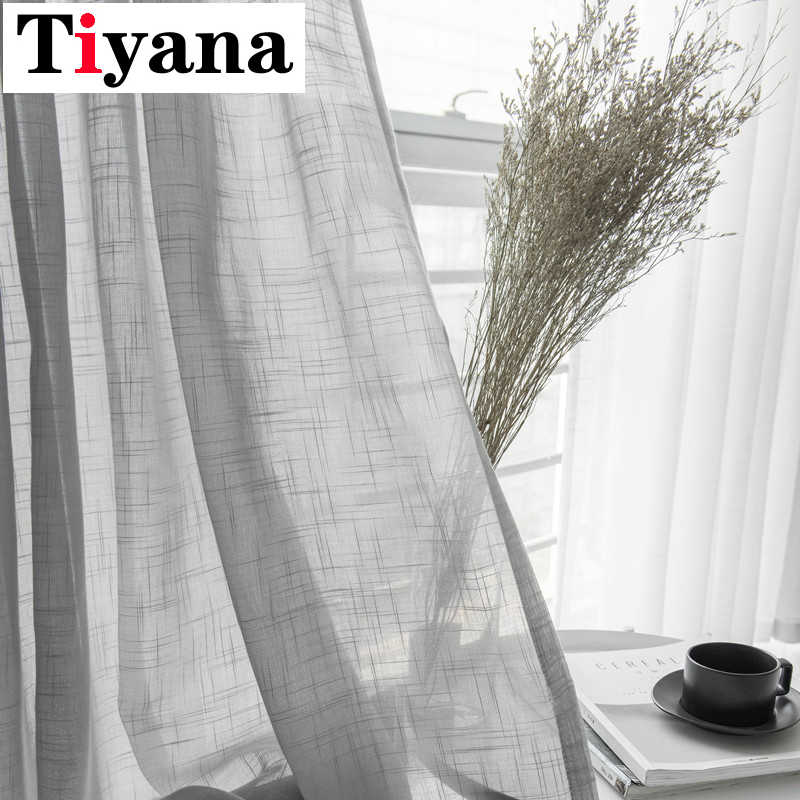 Tiyana Simple White Window Screening Solid Grey Kitchen Door Curtains Drapes Cotton Soft Sheer Tulle For Living Room HP053D3