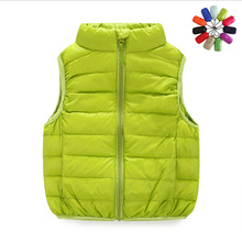 2017 Winter Casual Children Thin Collar Duck Down Vests Girls Solid Color Light Vest Waistcoats Boys 90% White Duck Down Vest