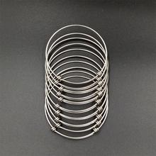 Wholesale Bulk 10pcs lots 2.5 inch High Polished Stainless Steel Adjustable Wire Bangle Bracelets DIY Jewelry Finding for Charm(China)