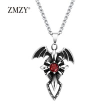 ZMZY Fashion Vintage Stainless Steel Sword Bat Red Zircon Crystal Cross Necklaces Pendants Punk Style Men Jewelry Dropshipping