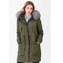 High Quality Down Parka 2016 New Luxury Fox Fur 90% White Goose Down Jacket Loose Warm Winter Jacket Women Amry Green