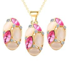 3 color 2016 gift Austrian Crystal Jewelry Sets For Women water drop pendant necklace wedding earrings jewelry set Free mail(China)