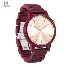 UWOOD-1002 Fashion Men Male Wood Strap Wrist Watch Durable Round Shape Quartz Wrist Watch Best Birthday Gifts New Arrivals