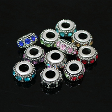 Charms Metal Alloy Beads 10pcs Antique Silver Flat Round Big Hole Rhinestone Beads Spacer DIY Accessories Beads For Bracelet(China)
