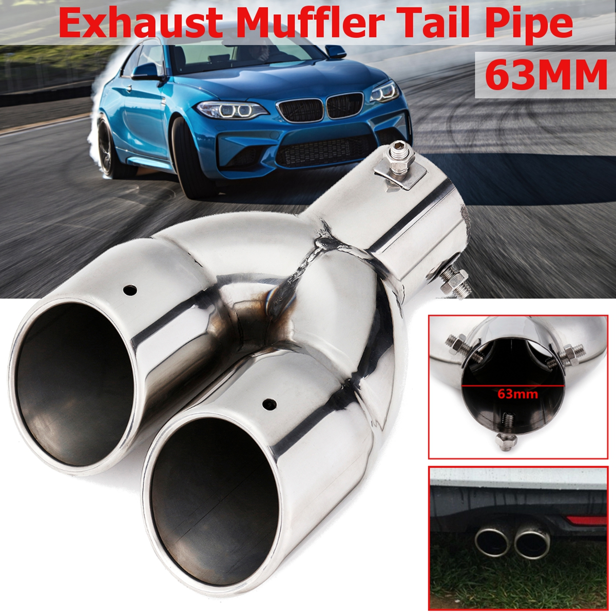 Pipe-Tip Throat-Liner-Pipe Chrome-Muffler Stainless-Steel Universal Exhaust Double-Outlet title=