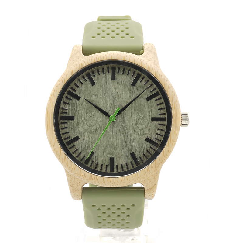 BOBO BIRD B06 Originl Bamboo Case Green Dial Wood Watch Mens Fashion Quartz Watch with Green Silicon Band holz armbanduhr<br><br>Aliexpress