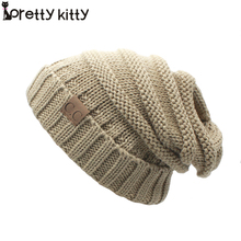 2016 Hot Knitted beanie winter hat women touca gorro snow caps knit hat skull chunky baggy warm  skullies