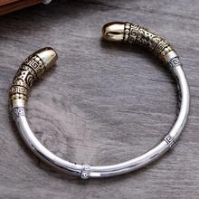 Genuine 925 Sterling Silver Jewelry Vintage Cuff Bracelets Men Monkey King Golden Cudgel High Polished Top Quality