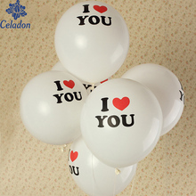 "12 inches 10pcs ""I Love You"" Latex Inflatable Balloons Air Ball Lovely Round Heart Wedding Balloons Birthday Wedding Decoration"