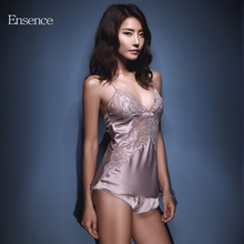 Ensence Luxurious Nightgown Sexy Y-shaped Beauty Back Hollow Lace Sleepwear V-neck Short Skirt Comfortable(China)
