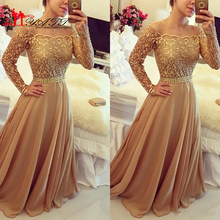 2016 New Design Lace Evening Gowns Golden Off Shoulder Long Sleeve Chiffon A Line Formal PArty Prom Dresses Custom Made