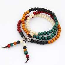 Fashion Vintage Tibet Ethnic Handmade Colorful Dia 6mm Wooden Beads Rosary Four Multilayer Bracelet for Women Men Jewelry