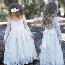 2017 Girl Lace Long Maxi Dress Print Rose For Age Baby Kids Princess Wedding Prom Party White/Cream Big Bow Long Sleeved Dresses