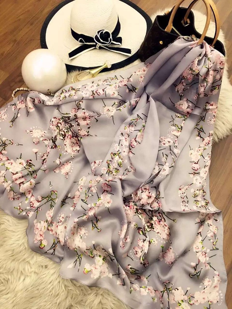 Sakura Elegant color Printed Fashion Young 100% Silk Scarf all-season match Pashmian Scarves Women Gift ZSCJ34 Drop Shipping