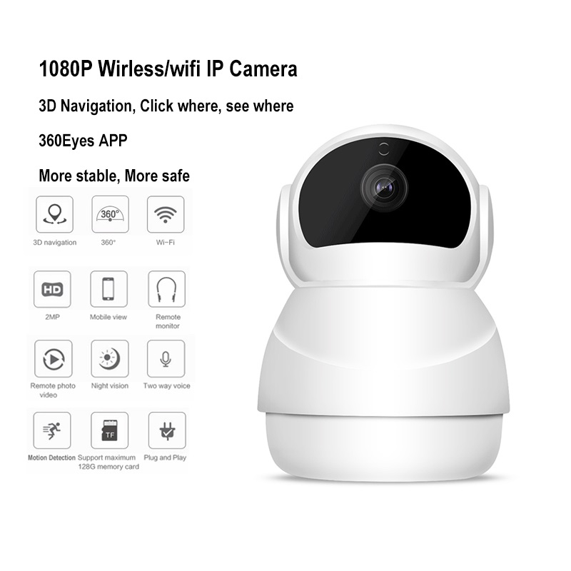 New 1080P Wireless Wifi P2P IP Camera 128G TF slot Motion Detection 360 Degree Rotation Panoramic View Security CCTV Camera <br>