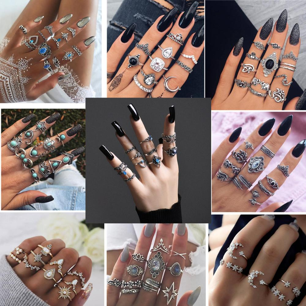 25 styles Bohemian Retro Crystal Flower Elephant Hollow Lotus Gem Silver Ring Set Women Wedding Anniversary Gift title=