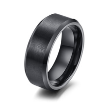 Vnox 316l stainless steel men ring 8mm black & silver & gold-color rings for women men jewelry(China)