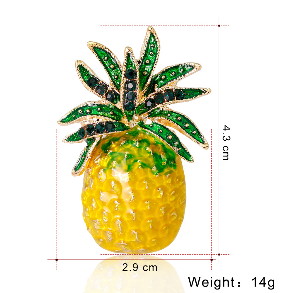 CHUKUI  Austria Rhinestone Inlay Enamel Pineapple Brooches For Women Cute Fruit Brooch Pin Dresses Coat Corsage Broches Gift (1)