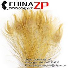 CHINAZP Factory 100pcs/lot Top Quality Full Eye Dyed Light Brown Peacock tail Feathers for Crafts(China)