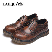 Men's Dress Shoes Oxfords Zapatos Genuine Leather Men Boots Comfortable Brogue Shoes Casual Male Boots H36(China)