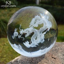 60mm Glass Ball 3D Laser Engraved Dragon Crystal Ball Feng Shui Globe Home Decoration Accessories Miniatures Gifts