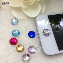 SiMR 6pcs/set Exquisite 3D Diamond Rhinestone Home Button Sticker For iPhone 4 4S 5 iPod iPad with Best Price