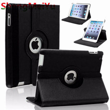 360 Rotating Screen Protector For Case Apple iPad 2 iPad 3 iPad 4 PU Leather Smart Stand Flip Case Cover(China)