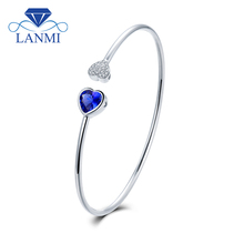 LANMI Wholesale Real 18K White Gold Natural Tanzanite Bracelet Pretty Bangle Diamond Promised Jewelry For Girl Party Gift(China)