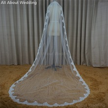 Lace 3 Meter Long Bridal Veils Wedding Hair Accessory Hair Cover with Comb 2017 New Style Real Photo