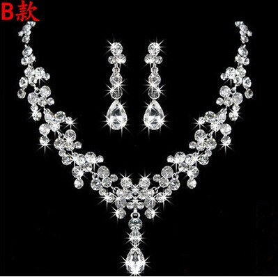 High Quality Silver Luxury Oversize Crystal Wedding Jewelry Sets Hollow-out Flower Necklace&Earrings Set For Woman (7)