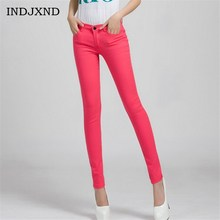 Women Candy Colored Jeans Cotton Pencil Legins Fashion jeans femme Mid Waist Woman Slim Fit skinny jeans woman Full Length K104