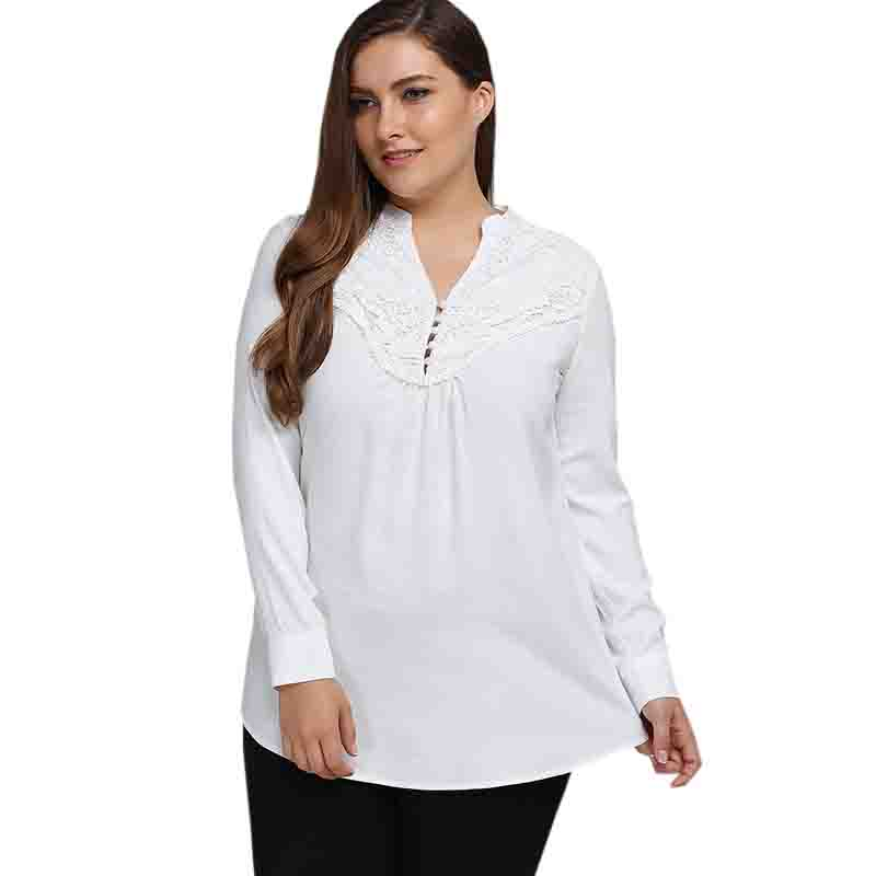 2017 New Arrival Fashion Style Women Blouses Sweet Cute Lady Blouses Plus Size V-neck Long Sleeve Shirt White Shirt SP34 A0(China)