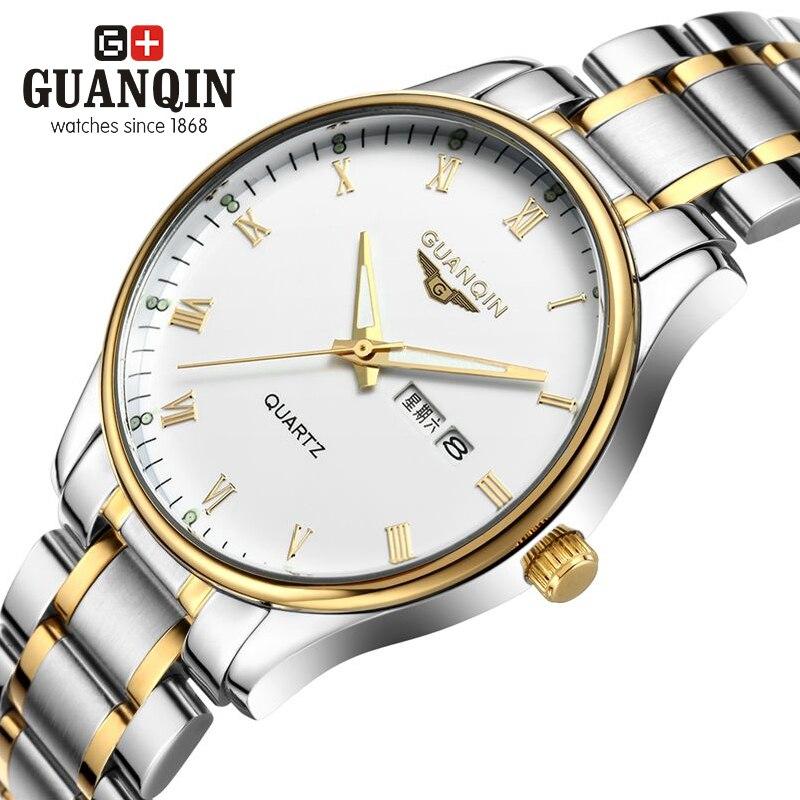 Original GUANQIN Men Watches Top Brand Luxury Quartz Watch Steel Wristwatches Relogio Masculino Business Men Watch Reloj Hombre<br>