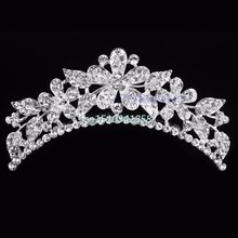 Wedding Flower Rhinestone Bridal Crystal Hair Headband Crown Comb Tiaras Prom Hair Accessories #Y51#