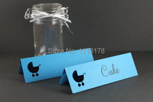 Baby Shower Place Names blue Babycart Party table name card Baby Shower Ideas, Favor Gift Tags, Place Cards