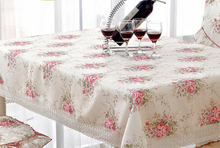 Fashion cloth rustic round table cloth round table mat dining table cloth table cloth chair cover set flower