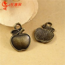 20*15MM  Antique Bronze BRIGHT SILVER VINTAGE bulk fruit charm, Apple charm pendant beads mobile phone DIY accessories wholesale