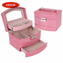 2016 Newest Large Jewelry Box Makeup Organizer Faux Leather Case with Mirror and Lock Two Layer Jewelry Organizer UIE391
