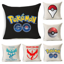 Cotton Linen Cushion Cover Pillowcase Mobile Game Pokemon GO Pattern Chair Seat Waist Square Decorative Pillow Cover Home Living