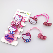 Fashion 6pcs/lot Girls Princess Hello Kitty Elastic Hair Bands Headwear Fashion Cartoon Kids Accessories(China)