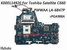 Superior Quality Motherboard For Toshiba Satellite C660 Motherboard K000114920 PWWAA LA-6847P PGA 988A DDR3  100% Fully Tested