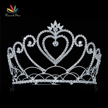 "Peacock Star Heart Pageant Beauty Contest Tall 4.75 "" / 12 cm Full Circle Round Crystal Tiara Crown CT1690(Hong Kong)"