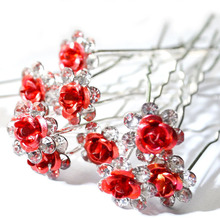 20Pc/Lot Women Bridal Wedding Crystal Diamante Flower Rose Hairpin Clip Barrettes Sticks Hair Braider Styling Tools Accessories(China)