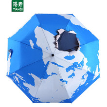 100 CM * 8 ribs 3D Printing World Map Umbrella Portable Sunny Rainy 3 Folding Umbrellas for Women