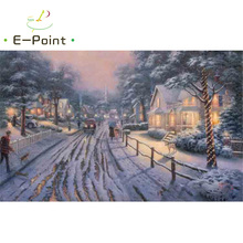 E-Point Thomas Kinkade Landscape Oil Painting Print on Cotton Canvas Painting Abstract Christmas Decorations for Home YG1558(China)