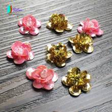Pink or Golden Sequins Flower Patch for Cowboy clothing/hat/bag/shoe Decoration Sequins Flower Patch Accessory S0039H