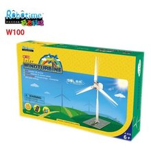 candice guo wooden toy wood model Solar power windturbine mini windmill assemble funny building children birthday gift W100 box