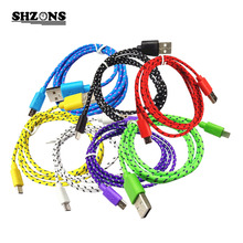 1m 2m 3m  Nylon Braided Fabric Micro USB Cable Charger Data Sync USB Cable Cord for Samsung Galaxy HTC Android Smart Phone 1pcs